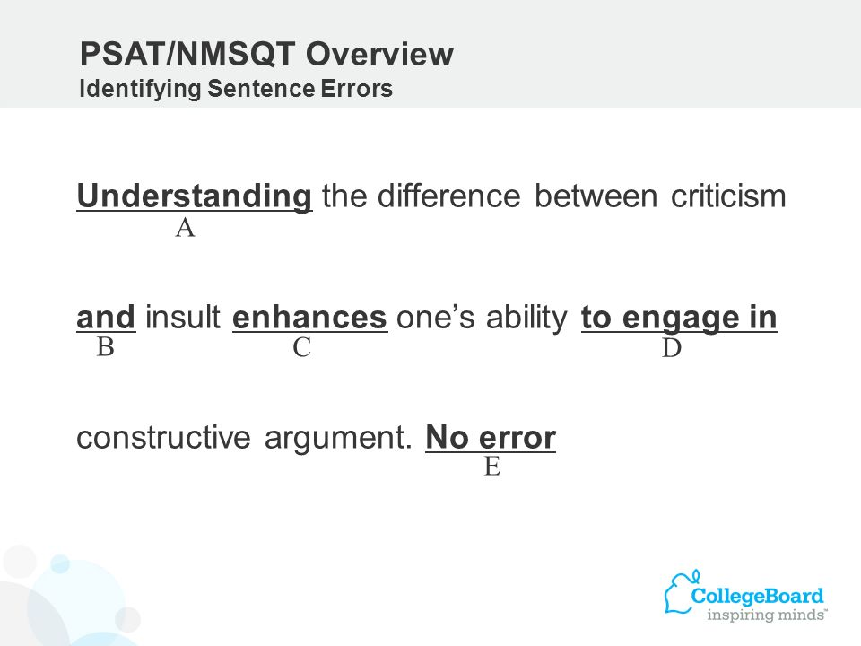 PSAT/NMSQT Overview Identifying Sentence Errors.