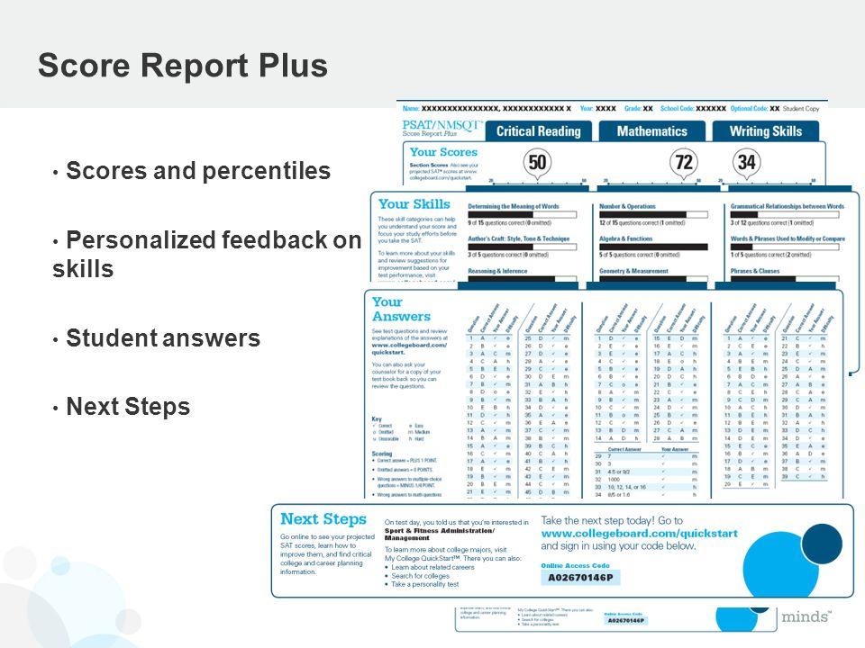 Score Report Plus Scores and percentiles