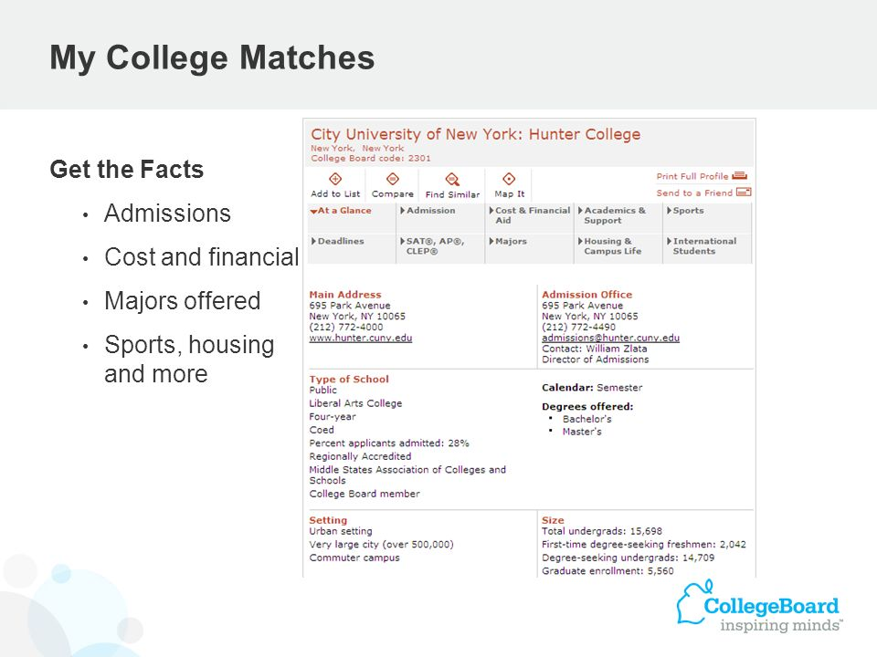 My College Matches Get the Facts Admissions Cost and financial aid