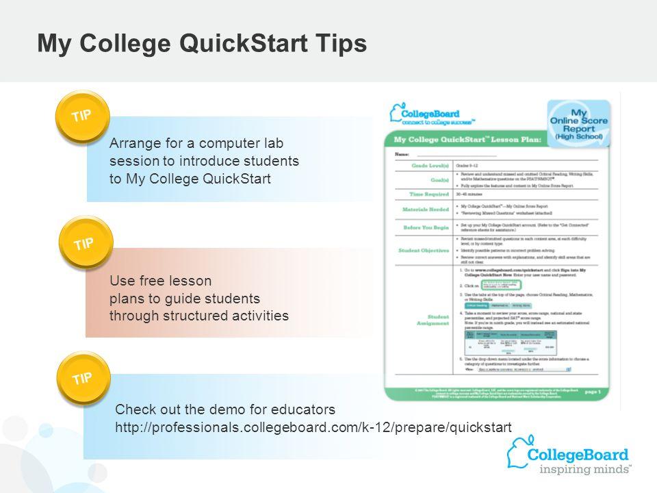 My College QuickStart Tips