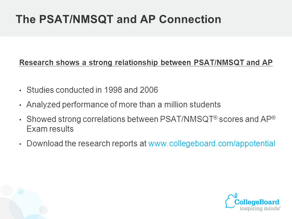 The PSAT/NMSQT and AP Connection