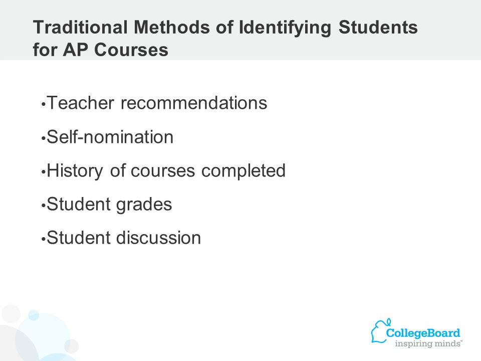 Traditional Methods of Identifying Students for AP Courses