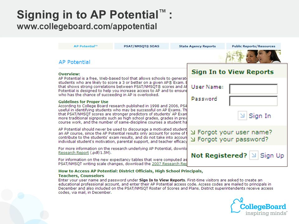 Signing in to AP Potential™ : www.collegeboard.com/appotential