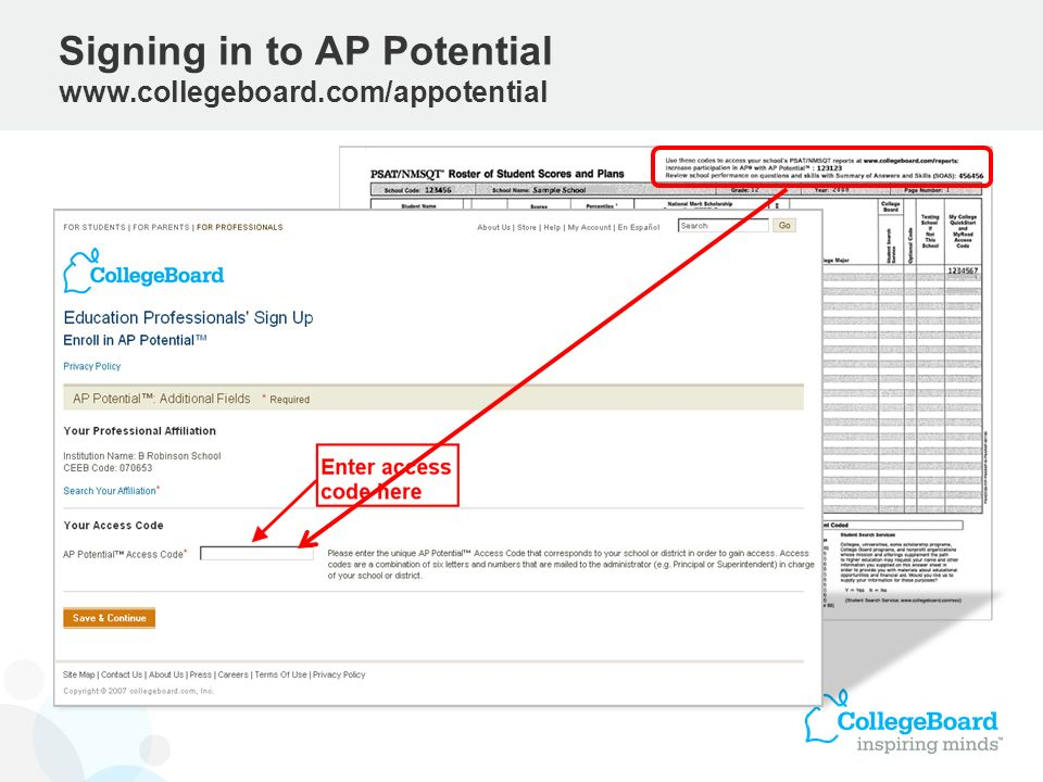Signing in to AP Potential www.collegeboard.com/appotential