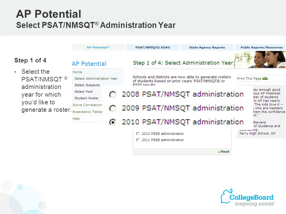 AP Potential Select PSAT/NMSQT® Administration Year