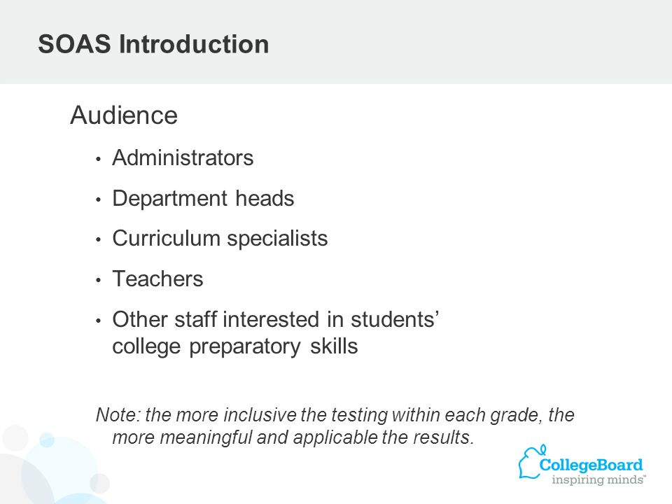 SOAS Introduction Audience Administrators Department heads