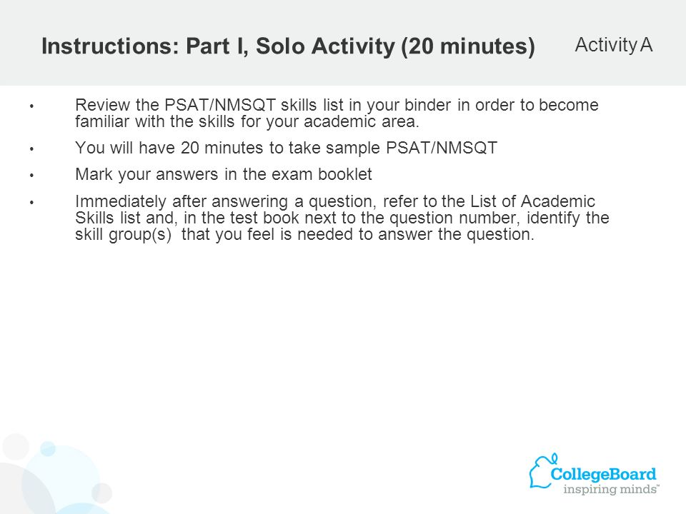 Instructions: Part I, Solo Activity (20 minutes)