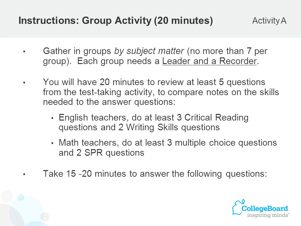 Instructions: Group Activity (20 minutes)