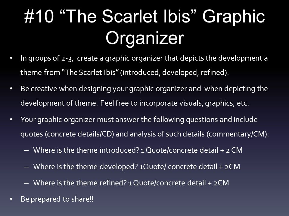 """the scarlet ibis"" summary and theme ppt video online   10 the scarlet ibis graphic organizer"