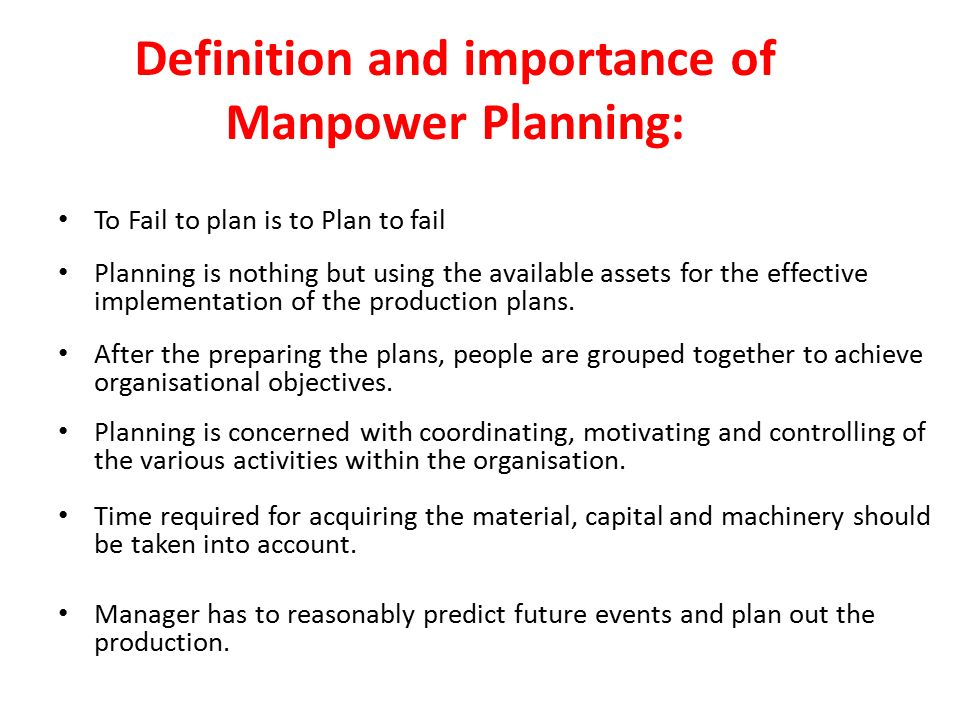 definition with manpower intending during business