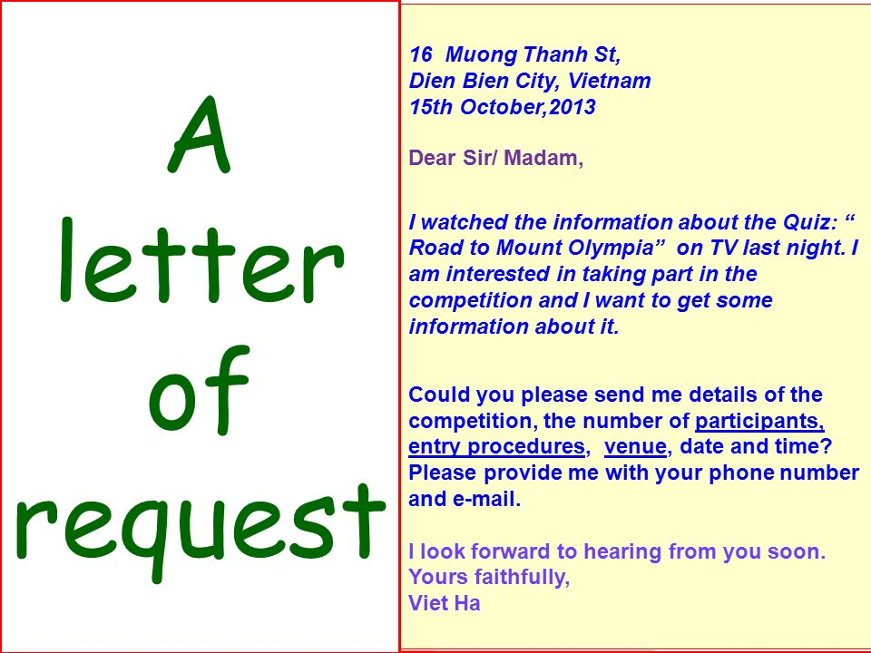 Unit 6 competitions lesson 4 writing ppt video online download a letter of request 2 identify the parts of this letter 1heading thecheapjerseys Images