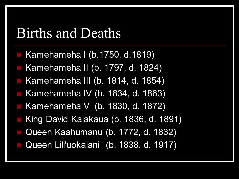 Births and Deaths Kamehameha I (b.1750, d.1819)