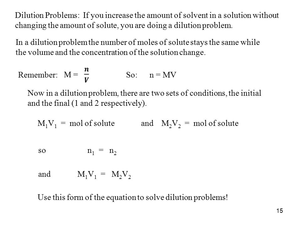 how to solve dilution problems chemistry