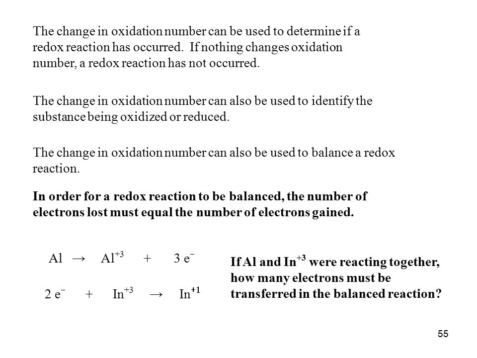 change in electrons during oxidation and reduction Redox reactions — reactions in which there's a simultaneous transfer of electrons from one chemical species to another — are really composed of two different reactions: oxidation (a loss of electrons) and reduction (a gain of electrons.