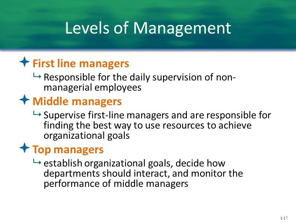 Levels of Management First line managers Middle managers Top managers