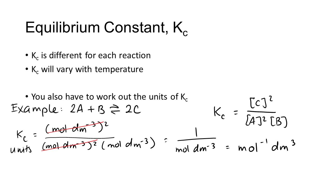 equilibrium constant The equilibrium constant is a ratio of the concentration of the products to the concentration of the reactants if the k value is less than one the reaction will move to the left and if the k.