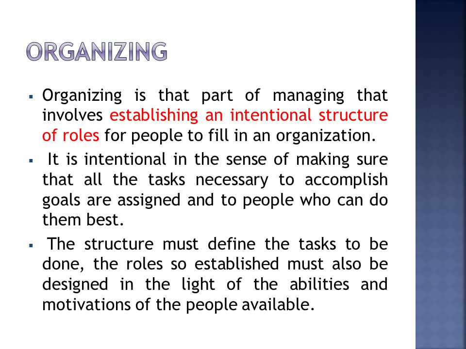 organizing Organizing is that part of managing that involves establishing an intentional structure of roles for people to fill in an organization.