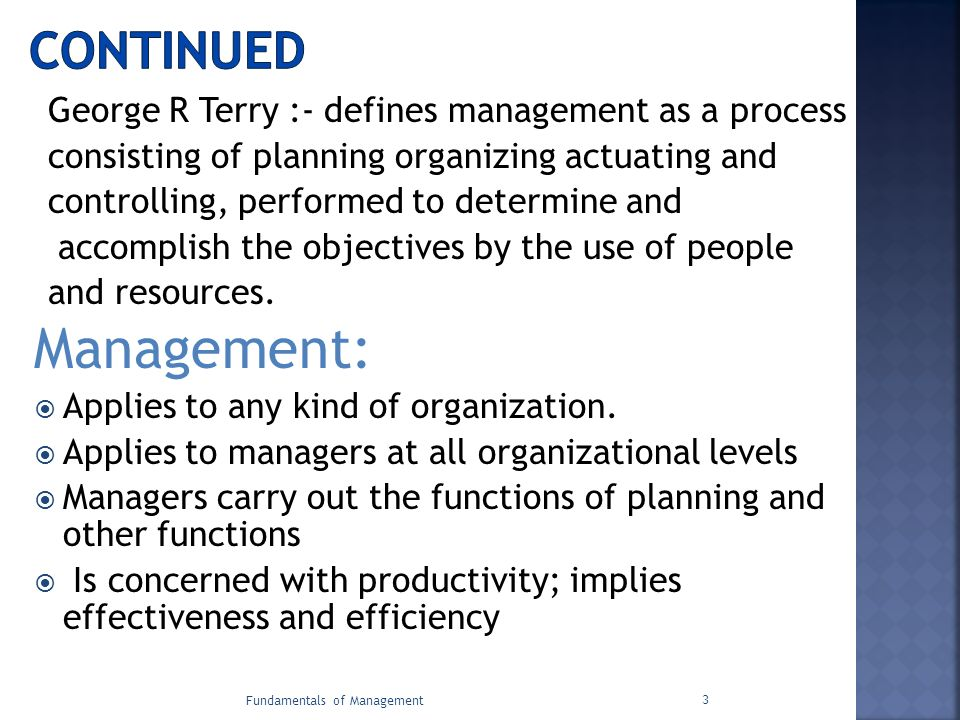 Management: Continued