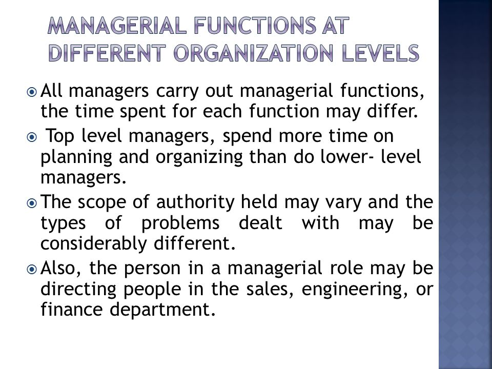 Managerial functions at different Organization Levels