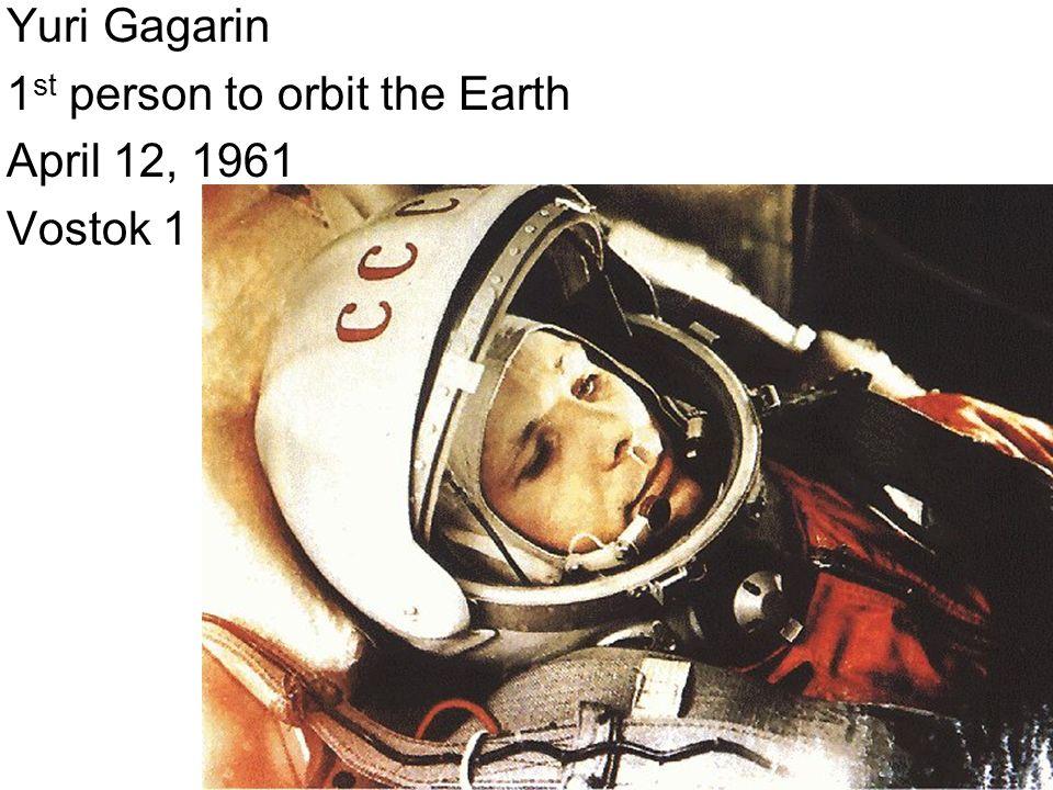 Yuri Gagarin 1st person to orbit the Earth April 12, 1961 Vostok 1