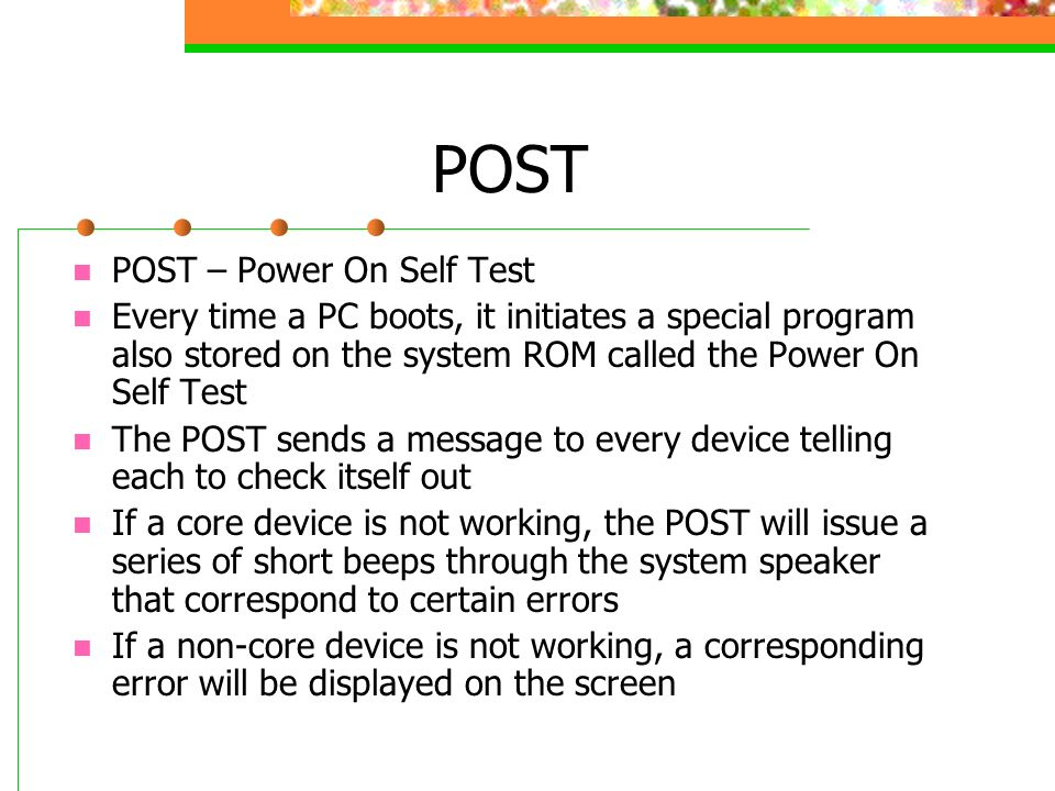 the power on self test using Power-on self-test (post) refers to routines which run immediately after many  digital electronic  they may be stored in firmware or included as hardware.