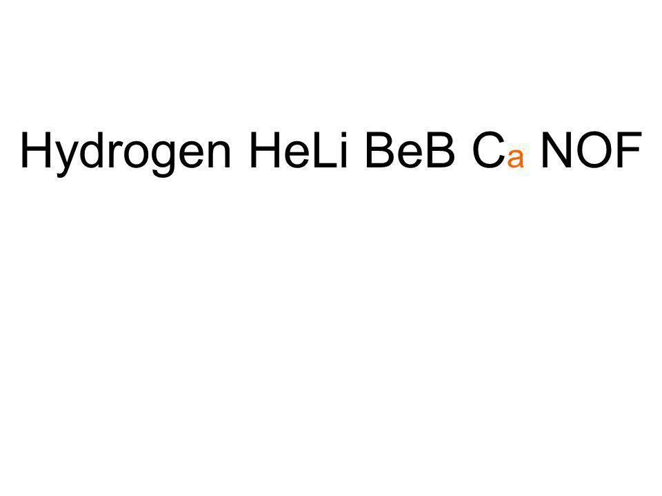 Hydrogen HeLi BeB Ca NOF