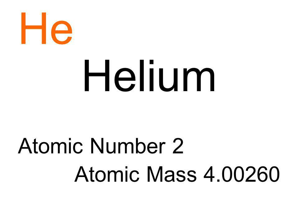 He Helium Atomic Number 2 Atomic Mass 4.00260