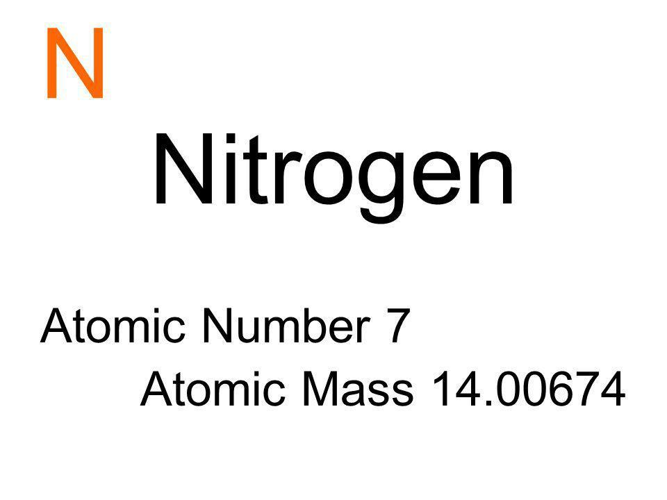 N Nitrogen Atomic Number 7 Atomic Mass 14.00674