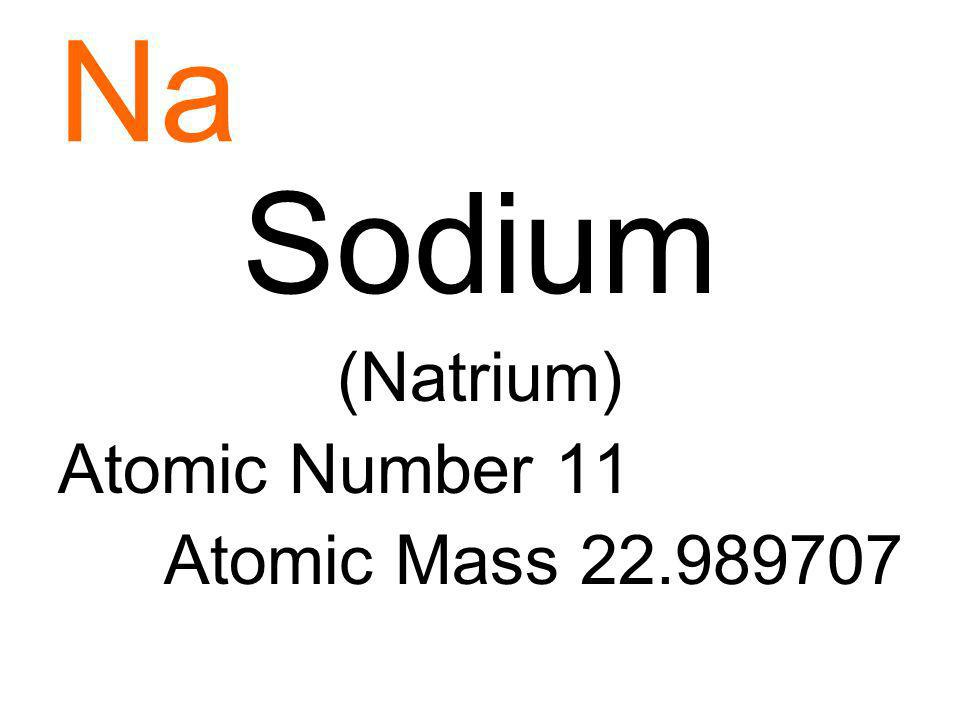 Na Sodium (Natrium) Atomic Number 11 Atomic Mass 22.989707