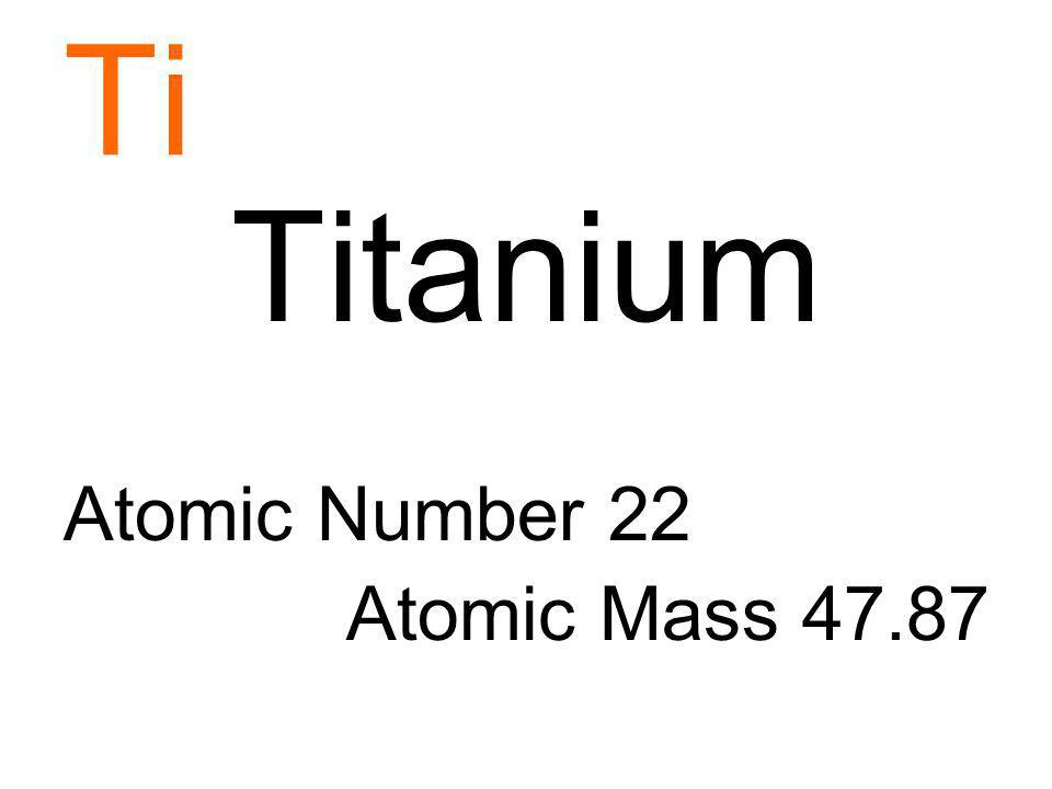 Ti Titanium Atomic Number 22 Atomic Mass 47.87