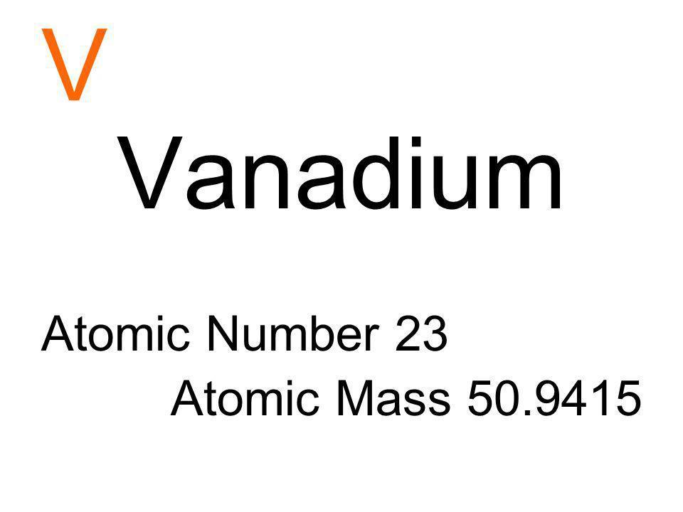 V Vanadium Atomic Number 23 Atomic Mass 50.9415