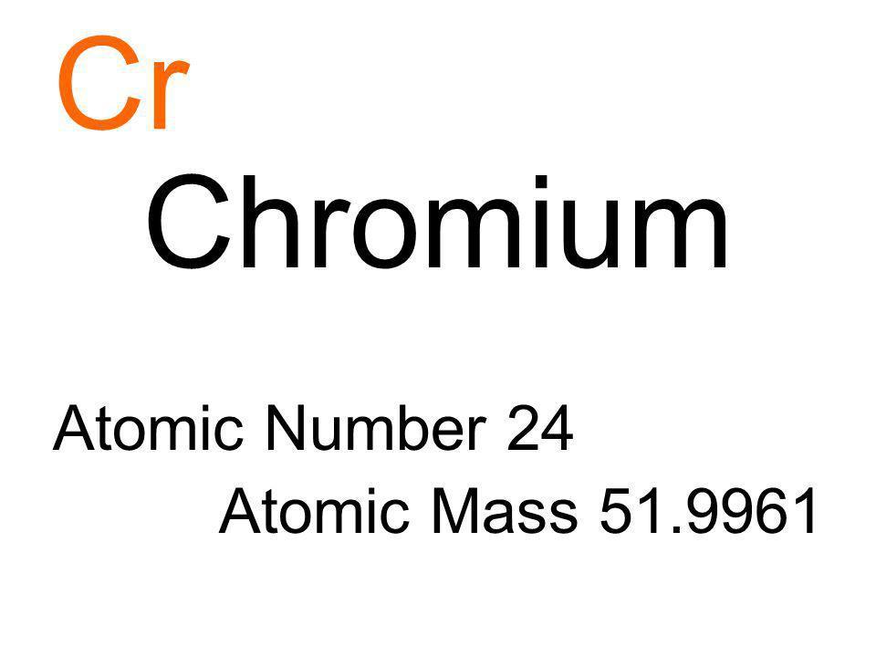 Cr Chromium Atomic Number 24 Atomic Mass 51.9961