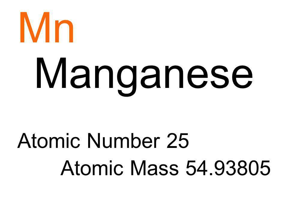 Mn Manganese Atomic Number 25 Atomic Mass 54.93805