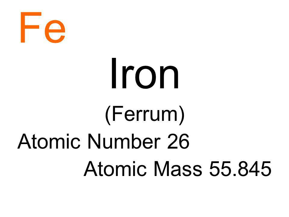 Fe Iron (Ferrum) Atomic Number 26 Atomic Mass