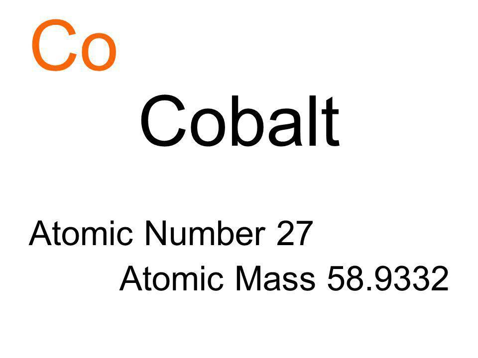 Co Cobalt Atomic Number 27 Atomic Mass 58.9332