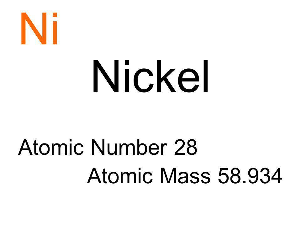 Ni Nickel Atomic Number 28 Atomic Mass 58.934