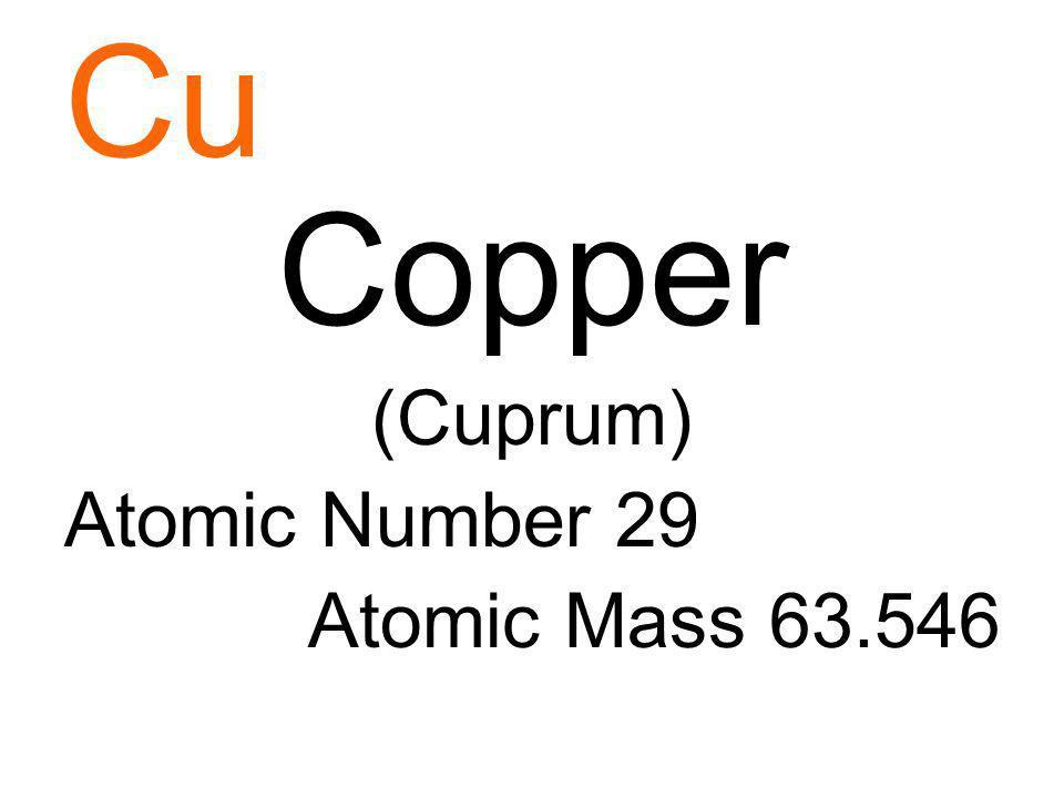 Cu Copper (Cuprum) Atomic Number 29 Atomic Mass 63.546
