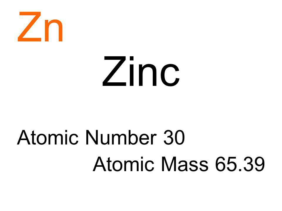 Zn Zinc Atomic Number 30 Atomic Mass 65.39