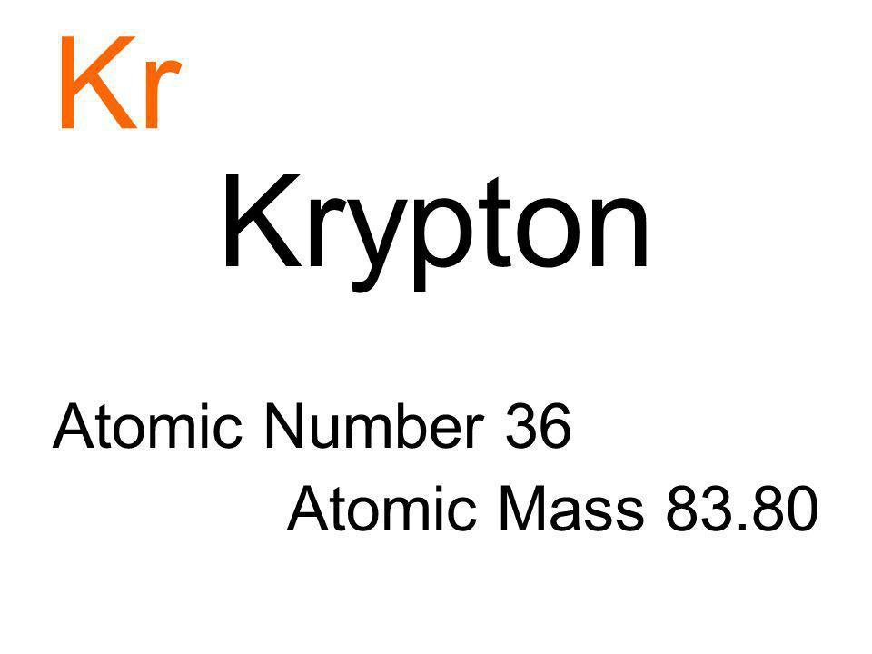 Kr Krypton Atomic Number 36 Atomic Mass 83.80