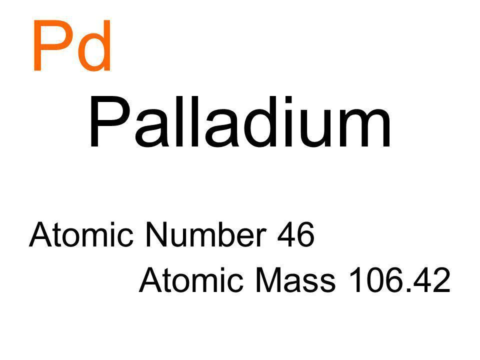 Pd Palladium Atomic Number 46 Atomic Mass 106.42