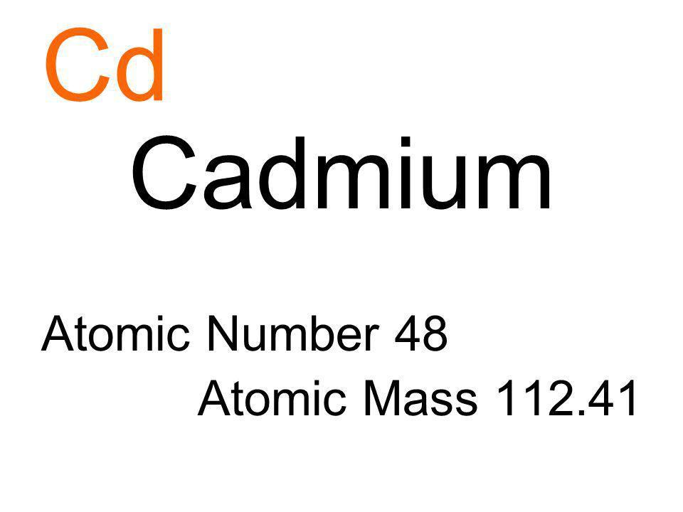 Cd Cadmium Atomic Number 48 Atomic Mass 112.41
