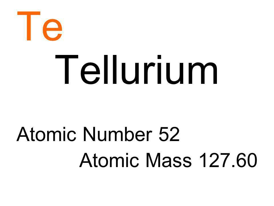 Te Tellurium Atomic Number 52 Atomic Mass 127.60