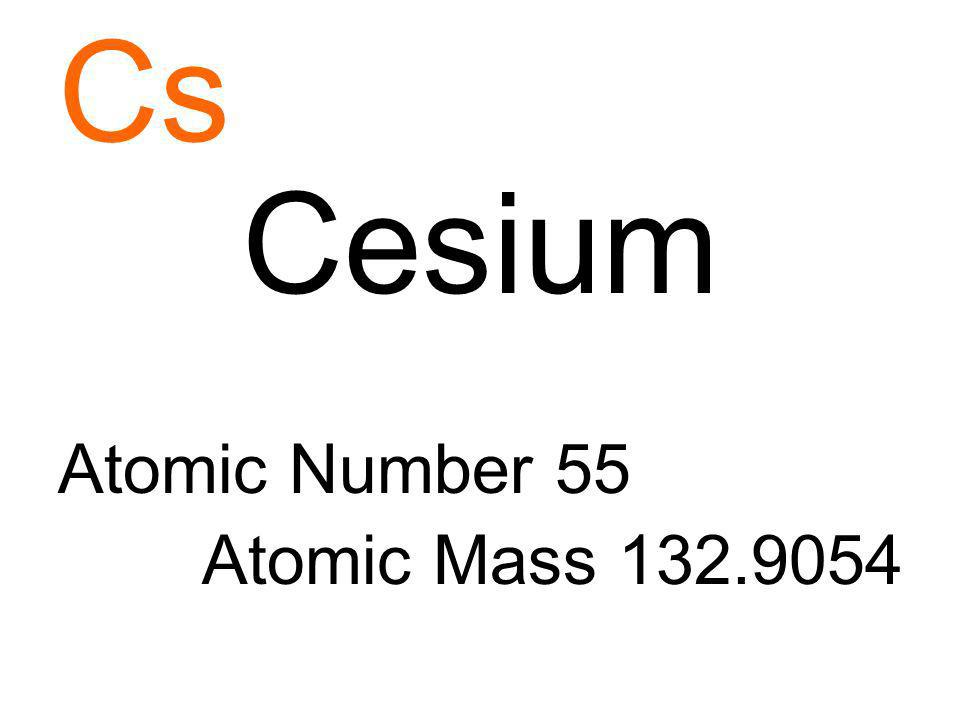 Cs Cesium Atomic Number 55 Atomic Mass