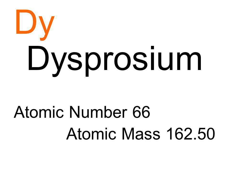 Dy Dysprosium Atomic Number 66 Atomic Mass 162.50