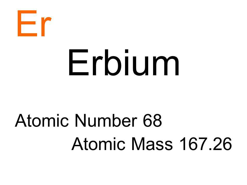 Er Erbium Atomic Number 68 Atomic Mass