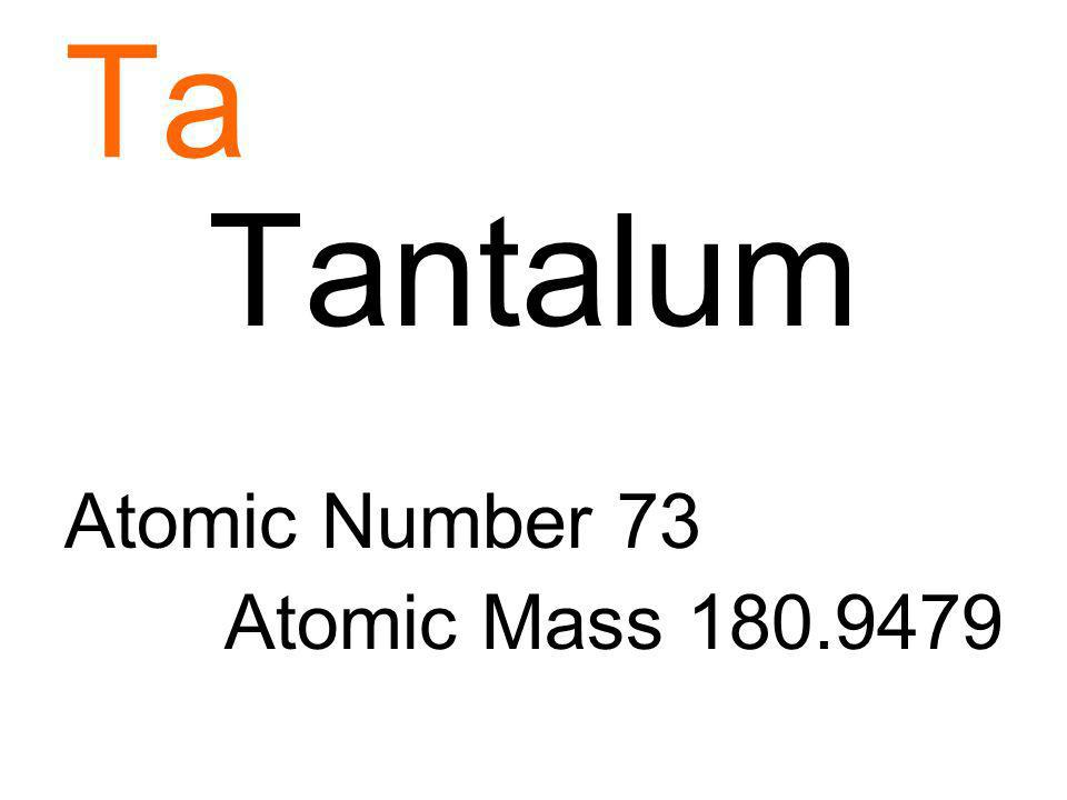 Ta Tantalum Atomic Number 73 Atomic Mass