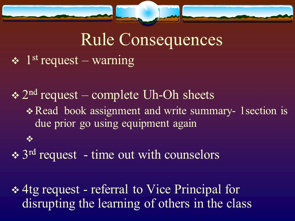 Rule Consequences 1st request – warning