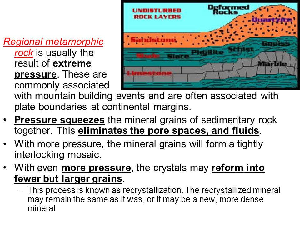 Regional metamorphic rock is usually the result of extreme pressure
