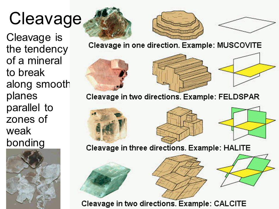 Cleavage Cleavage is the tendency of a mineral to break along smooth planes parallel to zones of weak bonding.