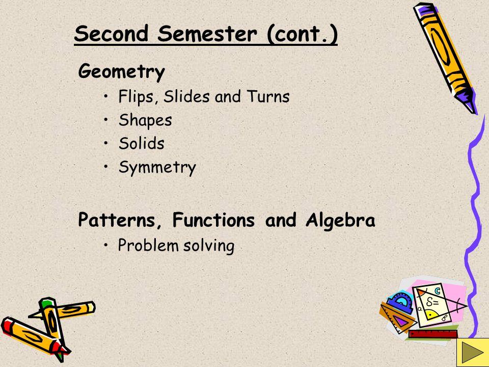 Second Semester (cont.)